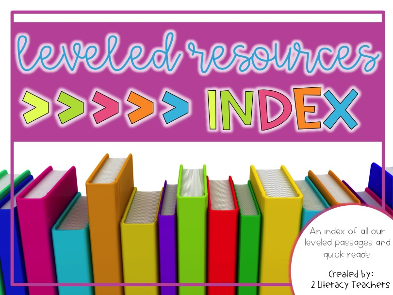 FREE Index and Ideas for Using Our Leveled Passages and Leveled Quick Reads